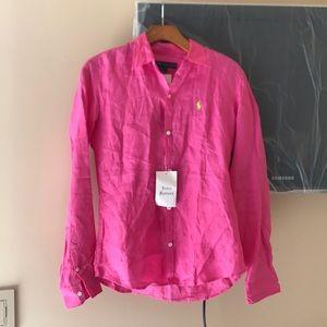Pink linen long sleeve button up from Ralph Lauren
